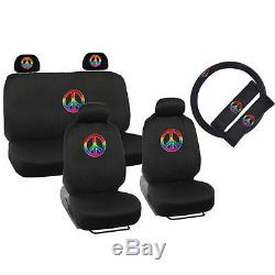 New 13pcs Rainbow Peace Car Front Back Seat Covers & Steering Wheel Cover Set
