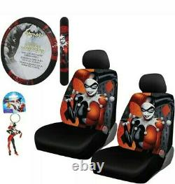 New 6pc Harley Quinn Car Seat Covers Steering Wheel Cover & Keychain Gift Set