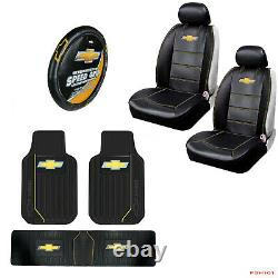 New 8pcs Chevy Elite Style Car Truck Seat Covers Steering Wheel Cover Floor Mats