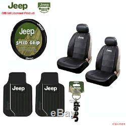 New 8pcs JEEP Elite Style Car Truck Seat Covers Floor Mats Steering Wheel Cover