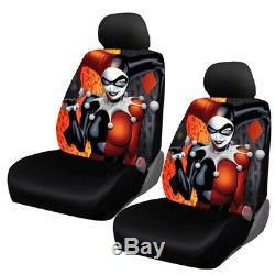 New 9pc Harley Quinn Car Floor Mats Seat Covers Steering Wheel Cover Gift Set