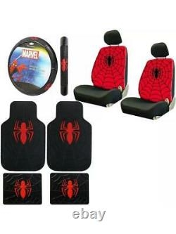 New 9pc Spider-Man Car Floor Mats Seat Covers & Steering Wheel Cover