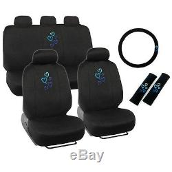New Blue Hearts Car Front Back Full Seat Covers & Steering Wheel Cover Set