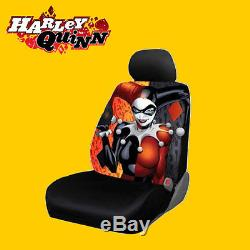 New DC Comic Harley Quinn Car Seat Covers Floor Mat and Steering Wheel Cover Set