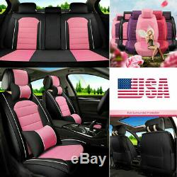 New Elegant Lady Car Seat Cover Cute Pink PU Leather 5-Sits Cushion Protector US