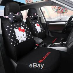 New Hello Kitty five seats car seat cover steering wheel headrest fashion models
