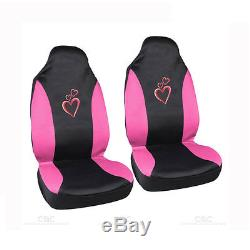 New Love Story Pink Hearts Car Seat Covers Steering Wheel Cover & Floor Mats Set