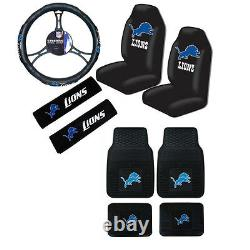 New NFL Detroit Lions Car Truck Seat Covers Steering Wheel Cover Floor Mats