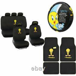 New Tweety Bird Front Rear Car Floor Mats Seat Covers Steering Wheel Cover Set