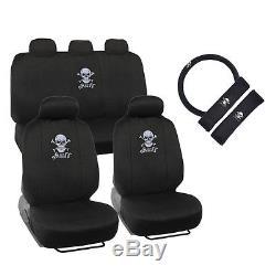 New White Skull Crossbones Car Seat Covers Steering Wheel Cover & Floor Mats Set