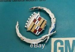 Nos 63 66 Cadillac Eldorado Fleetwood Crest Wreath Emblem Set Oem Gm Trim