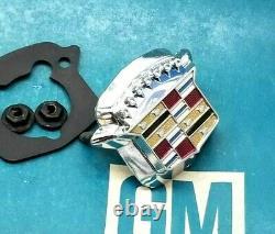 Nos 71 78 Cadillac Trunk Lock Cover Emblem Flip LID Crest Deck Slider Gm Flipper
