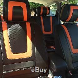 Orange & CF Style Seat Cover Shift Knob Steering Wheel PVC Leather Sedan 34031d
