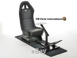 PS4 PS3 Xbox Steering Wheel Pedals Frame Bucket Seat Faux Leather Black Ultimate