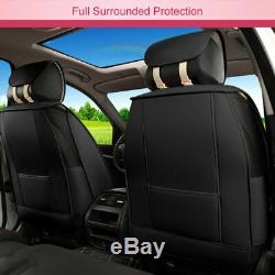 PU Leather Car Seat Covers Pink Steering Wheel Cover+Pillows Full Set Universal