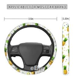 Pineapple 11X Car Seat Cover+Steering Wheel Cover+Armrest Pad+Seat Belt Full Set
