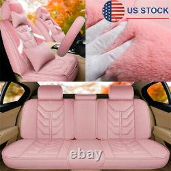 Pink Plush Car Seat Covers with Steering Wheel Cover Full Set Universal Interior