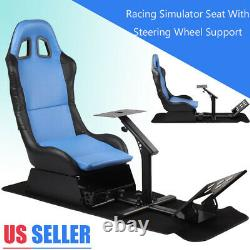 Racing Chair Gaming Seat Driving Stand Simulator Cockpit With Steering Wheel New