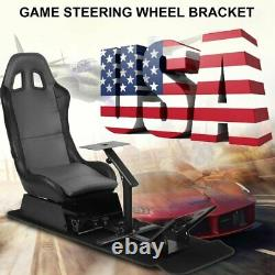 Racing Seat Gaming Chair Simulator Cockpit Steering Wheel Stand Fits Adults USA
