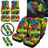 Rainbow Rose Car Seat Covers Full Set For Women Floor Mats, Steering Wheel Cover