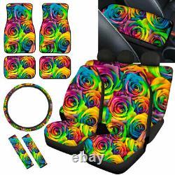 Rainbow Rose Car Seat Covers Full Set for Women Floor Mats, Steering Wheel Cover