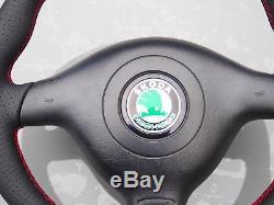 SKODA Black Leather Steering Wheel & Airbag For Fabia VRS Vw Seat R32 Gti