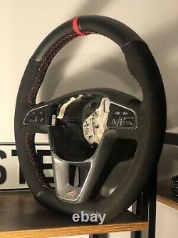 Seat 6f Leon Ibiza Arona Flat Bottom Steering Wheel Fr Suede Trim Red Stitching