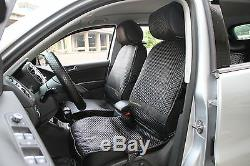 Seat Cover Set Shift Knob Belt Steering Wheel Black PVC Leather Car Sedan 32001a