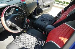 Seat Cover Set Shift Knob Belt Steering Wheel Black+Red PVC Leather Auto 33021a