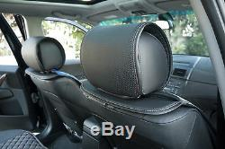 Seat Cover Shift Knob Belt Steering Wheel Black+Blue PVC Leather Sedan Truck 2
