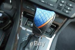 Seat Cover Shift Knob Belt Steering Wheel Black Blue PVC Leather Sedan Truck 3