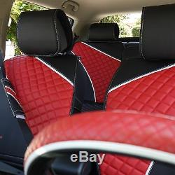 Seat Cover Shift Knob Belt Steering Wheel Black / Red PVC Leather Auto Upgrade 4