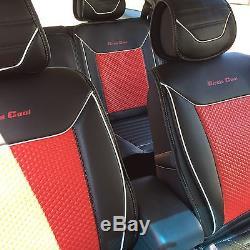 Seat Cover Shift Knob Belt Steering Wheel Black & Red PVC Leather Luxury 33061 b
