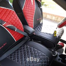 Seat Cover Shift Knob Belt Steering Wheel Black+Red PVC Leather Sedan SUV Van