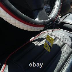 Seat Cover Shift Knob Belt Steering Wheel Black+White PVC Leather Luxury 33071d