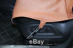 Seat Cover Shift Knob Belt Steering Wheel Brown PVC Leather Sedan Truck Luxury 2