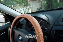 Seat Cover Shift Knob Belt Steering Wheel Orange Brown PVC Leather Upgrade 2041d