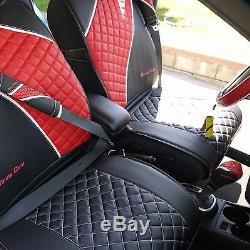 Seat Cover Shift Knob Steering Wheel Black Red PVC Leather High Quality 33021b