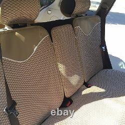 Seat Cover Shift Knob Steering Wheel Cushion Beige Cloth 3D Luxury Set 43001d