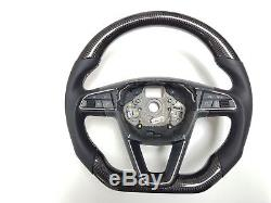 Seat Leon 5F0 FR Carbon Fibre Steering Wheel, Chunky Grip, MANUAL 2013+
