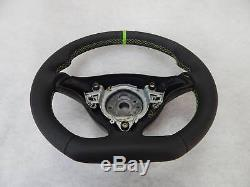 Seat Leon Mk1 Custom steering wheel flat bottom green leather ring