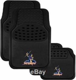 Set 3 Melbourne Storm Nrl Car Seat Covers Steering Wheel Cover Floor Mats