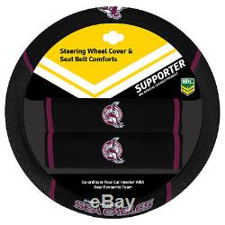 Set Of 3 Manly Sea Eagles Nrl Car Seat Covers Steering Wheel Cover + Floor Mats