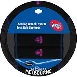 Set Of 3 Melbourne Demons Afl Car Seat Covers Steering Wheel Cover + Floor Mats