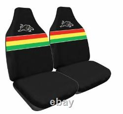 Set Of 3 Penrith Panthers Car Seat Covers + Steering Wheel Cover + Floor Mats