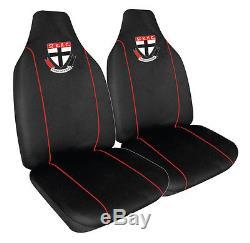 Set Of 3 St Kilda Saints Afl Car Seat Covers + Steering Wheel Cover + Floor Mats
