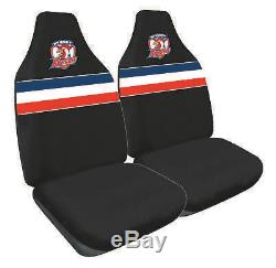 Set Of 3 Sydney Roosters Nrl Car Seat Covers + Steering Wheel Cover + Floor Mats