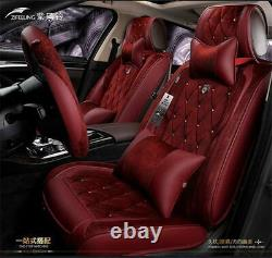 Short Plush Car Seat Covers Rhinestone Style with Steering Wheel Cover Universal