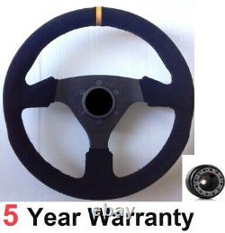 Suede Racing Steering Wheel 330mm And Boss Kit Fits Vw Golf Mk4 Mk5 Polo + More