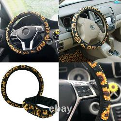 Sunflower Black Car Seat Covers with Floor Mats, Steering Wheel/Console Cover 10x
